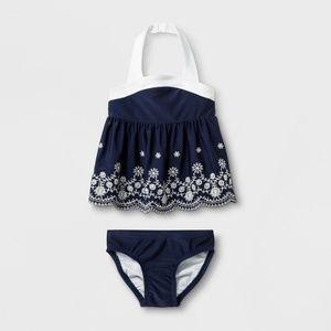 Baby Girls Navy Blue Detailed Tankini Set